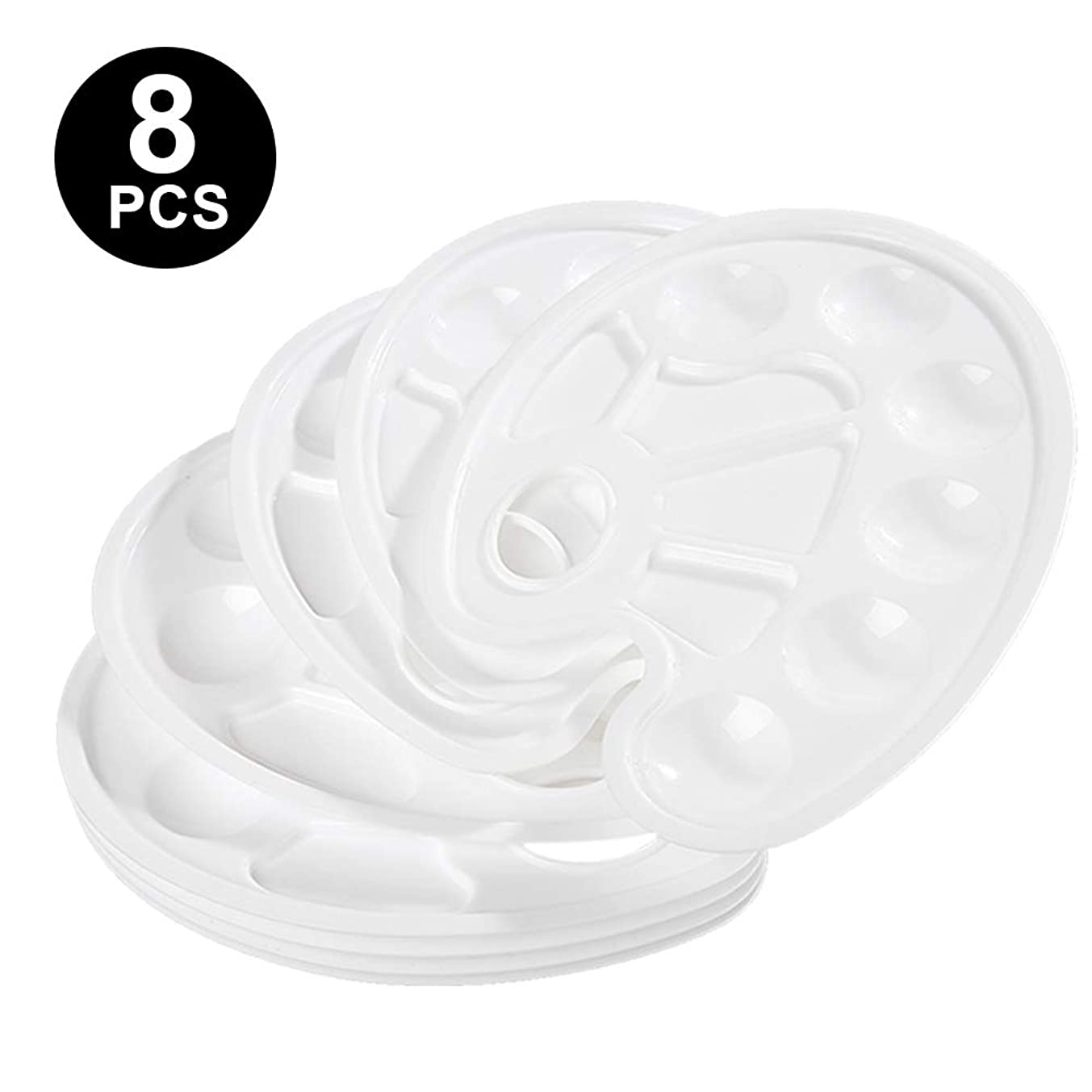 8 Pcs Paint Tray Palette Plastic with Thumb Hole, 9 Inch by 6.7 Inch, 10 Wells for DIY Craft Art Painting
