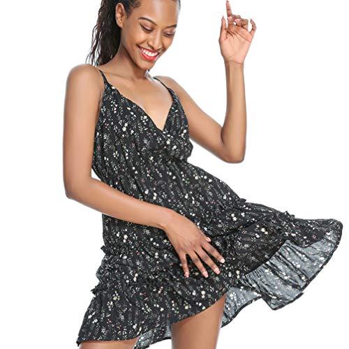 Tendycoco jurk, middellange lengte, V-hals en bloemen, voor dames, zomerjurk, zonder dragers met spaghettibandjes (groen, maat S)