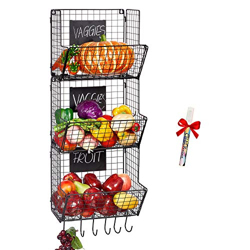 Befano Hanging Fruit Basket 3 Tier Metal Kitchen Baskets Rack Wire Wall Mounted Produce Baskets with 6 Hooks and Chalkboard for Kitchen Storage Vegetable