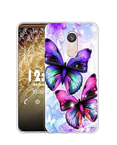 Sunrive Kompatibel mit Doogee F5 Hülle Silikon, Transparent Handyhülle Schutzhülle Etui Hülle (Q Schmetterling)+Gratis Universal Eingabestift MEHRWEG