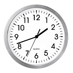Egundo 10 Inch Silent Metal Wall Clock,Small Round Non-Ticking Quartz Movement Battery Operated Analog Classic Hanging Clocks Decor for Living Room Office Bedroom Kitchen Kids Study Room (White)