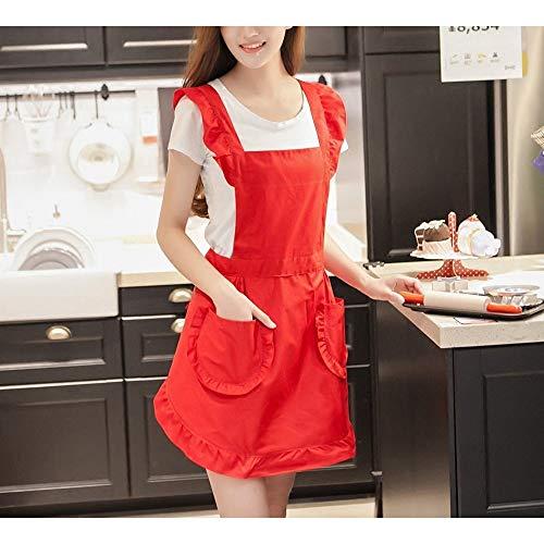 Modische Küchenschürze Mode Frauen Küche Milch Tee Coffee Shop Nagel wasserdichte Arbeitskleidung Mode Baumwolle Küche (Color : Red, UnitCount : 2PCS)