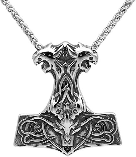LKLFC Collar para Mujeres, Hombres, Hombres, Acero Inoxidable, Lobo nórdico, Thor, Martillo, Calavera, Colgante nórdico, Collar Colgante, Regalo para niñas y niños