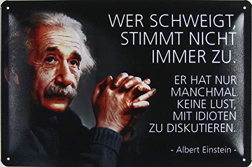 Blechschild 20x30cm gewölbt Wer schweigt stimmt Nicht Immer zu Zitat Einstein Deko Geschenk Schild