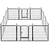YAHEETECH 32-inch 12 Panel Foldable Dog Pen - Metal Dog Exercise Pen Playpen Barrier Kennel Portable Duck Chicken Puppy Fence with Door Black