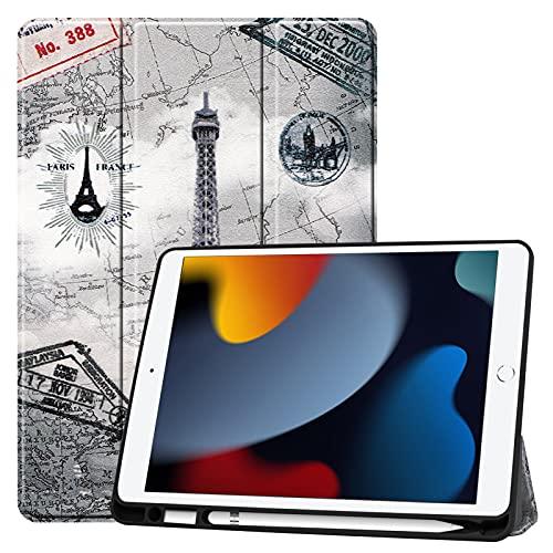 DWaybox - Custodia per tablet per iPad da 10,2' (modello 2021/2020/2019, 9/8/7 generazione), cover posteriore morbida in TPU opaco, in piedi trifold sottile e leggera, custodia protettiva