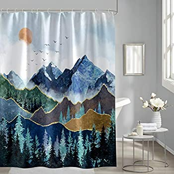 Forest Shower Curtain Misty Forest Landscape Teal Shower Curtain Green Tree Fog Nature Decor Fabric Rustic Watercolor Sun Rise Scenery Nature Landscape Bath Curtain with 12 Hooks 72  X 72