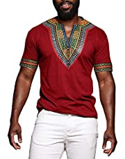 Mens Dashiki African Shirt Casual Short Sleeve T Shirt Tribal Print Tee V Neck Floral Blouse Top