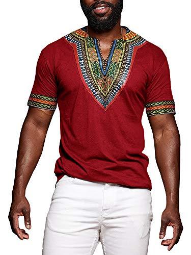 Gtealife Men's African Print Dashiki T-Shirt Tops Blouse (1-Red, L)