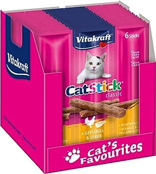 Vitakraft Cat-Stick Mini - Friandise premium pour chat saveur Volaille et Foie - 10 sachets de 6 sticks