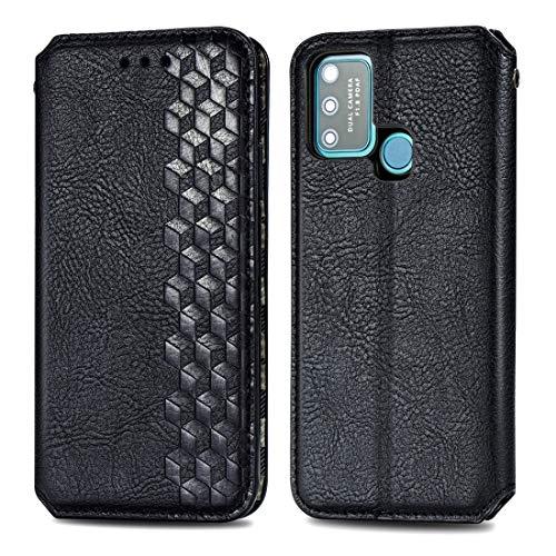 PHONETABLETCASE+ / for Compatible with Huawei Honor 9A Caja de Cuero magnética de la Rejilla Horizontal de la Rejilla Horizontal con el Soporte y Las Ranuras y la Billetera,Protección de la Cubierta