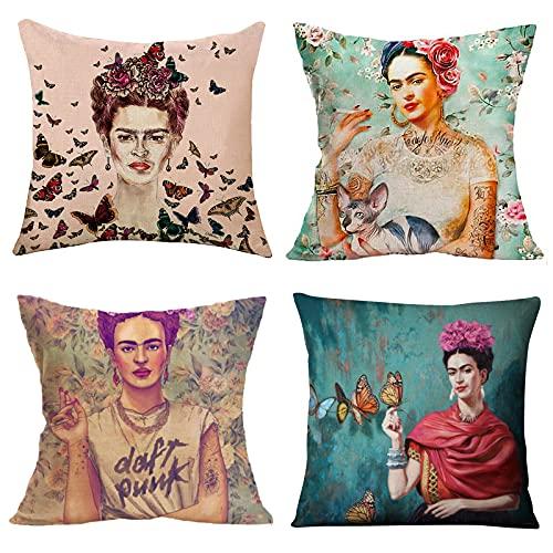 Adecuado para fundas de almohada Frida Kahlo de 4 piezas, cojines de lino para coche, cojines decorativos para sofá, cojines de jardín al aire libre 40x40cm / 45x45cm / 50x50cm (autorretrato femenino)