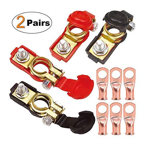 ZHITING 2 Paire Bornes de Batterie Connecteur de Pince Cosse Battery Terminal avec 6 Anneau en Cuivre pour Voiture Positive et Négative