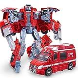 FUTER Heroes Rescue Bots Boy Toy,5-in-1 Robot Model Kid's Birthday Gift - Motorcycle/Fire Truck/Big Crane/Excavator/ Ambulance/Combat Robot Model,Children's Deformation Toy ( Color : Ambulance )