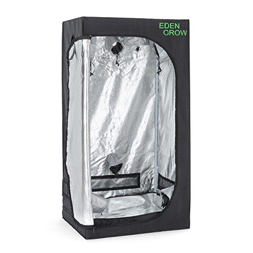 OneConcept Eden Grow S - Growbox, Growschrank, Growzelt, Größe L, 80x80x160 cm, lichtundurchlässiges Gewebe, Frontzugang, Zwei Belüftungszugänge, reflektierende Innenbeschichtung, schwarz