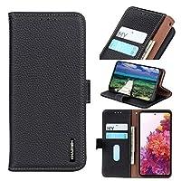 サムスンギャラクシーF62 M62、プレミアムリアル本物のレザー財布ケース[カードホルダースロットとキックステンド]フォリオフリップケース保護用電話カバー (Color : Black)