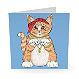 Birthday Card for Husband - 'Gangsta Cat' - Funny Birthday Card for Men - Comes with Sticker Inserts