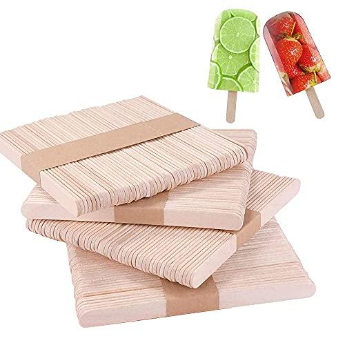 200pcs Palos de Madera Natural, Palos de Helado, Popsicle Sticks, Palitos Madera Manualidades, Adecuado para Paletas Caseras, Depilación con Cera, DIYartesanías, Diseños Creativos
