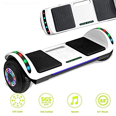 Latest Model Electric Hoverboard Dual Motors Two Wheels Smart self Balancing Scooter with Built in Speaker LED Lights for Gift (White)