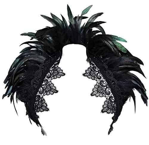 KELAND Foulard Noir Plumes Femmes Véritable Châle Wrap Col en Dentelle Costume Halloween Écharpe Haut(Noir-B)