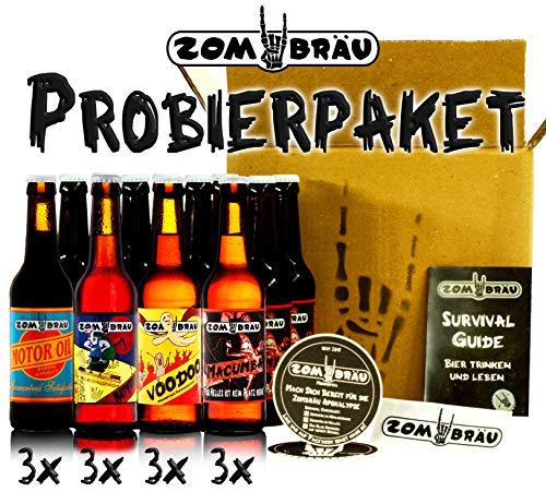 Zombräu Craft Beer Probierpaket - 12 x 0,33l Bier Set - In Handarbeit gebraute Biersorten mit einzigartigem Geschmack - Zum Bier Tasting oder als perfekte Geschenkidee
