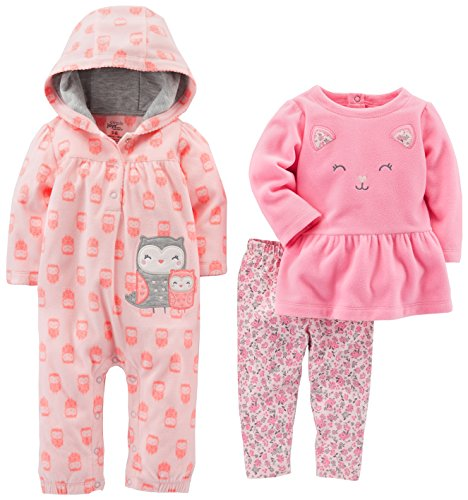 Simple Joys by Carter's Baby Girls' 3-Piece Playwear Set, Pink Owl, 18 Months