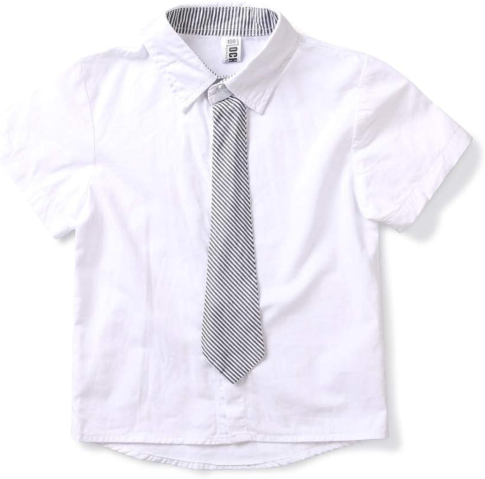 BUFOSA Little Boy's Short Sleeve Button Down Dress Shirt with Bowtie