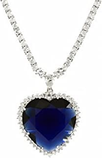 Eves Couture Sparkling Quality Swarovski Crystal Titanic Realistic Replica Blue Heart of The Ocean Necklace Pendant with Chain Titanic Style Jewelry - Skin Safe Metal