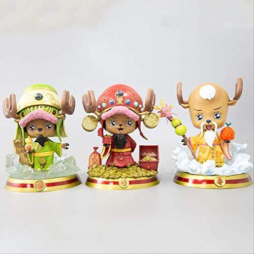 Ltong 3 Piezas One Piece Chopper Anime Figuras de acción Juguetes Auspicioso Año Nuevo Muñecas Acción de Regalo Figura de Anime Japonesa Modelo Regalos para niños 20Cm