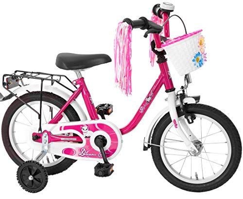 Bachtenkirch-Interbike GmbH Kinderfahrrad 14 Zoll Fahrrad für Kinder Mädchen Kinderrad Mädchenfahrrad Katze