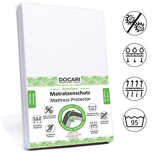 DOCARI Matratzenschoner 90 x 200 wasserdicht | Inkontinenzauflage Nässeschutz Matrazenschutzbezug 90x200 | Allergiker Anti Milben Matratzenschutz-Bezug