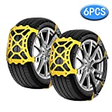 Vodche Car Snow Chains, 6Pcs Emergency Anti Slip Tire Traction Chains Upgraded TPU Snow Chain for Light...