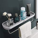 skroad mensole bagno, mensola doccia adesiva con portasciugamani, mensola bagno ispessibile in alluminio senza trapano mensola bagno a parete per cucina