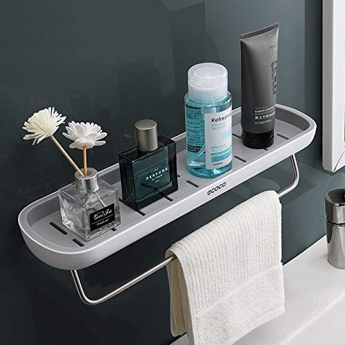 Skroad Estanterías para baño,Adhesivo estanteria Ducha con Barra de Toalla, Aluminio Espesamiento estanteria baño sin Taladro montado en la Pared Estante para baño para Cocina