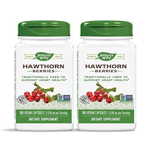 Nature's Way Premium Herbal Hawthorn Berries 1,530 mg per Serving, 180 Vegetarian Capsules (2 Pack)