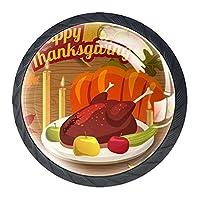 引き出しハンドルキャビネットノブ 4つの引き出しノブのラウンドパック,幸せな感謝祭の七面鳥の夕食