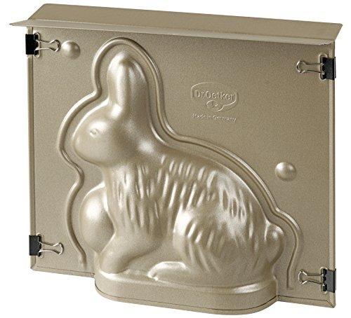 Dr. Oetker Hasenbackform Goldiges Ostern, hochwertige Hasenform, Osterbackform aus Stahlblech, Backform mit Antihaftbeschichtung, Form für die Osterfeier, handliche Motivbackform (Farbe: Gold)