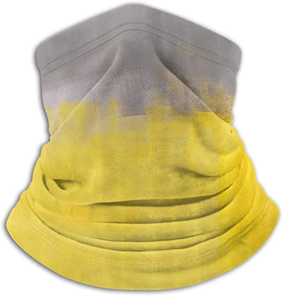 Neck Gaiter Women Grey and Yellow Headband Neck Gaiter Grunge Street Style Painting Brush Print Ombre Design Illustration Dimgray Yellow