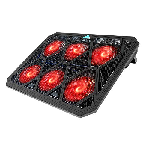 VOXON Laptop Cooling Pad, 6 Fans Notebook Laptop Cooler Cooling Pad with LED Lights, Dual USB Ports, Red LED Lights, Suitable for 12-19 Inch Laptops