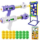 MIUJY Shooting Game Toy for Age 4 5 6 7 8 9 10 + Year Old Kids, Boys - 2 pk Foam Ball Popper Air Guns with Shooting Target Dinosaur & Space - Ideal Gift for Birthday - Compatible with Nerf Toy Guns