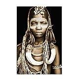 QIAOO Póster de Lienzo, Arte de Pared para Mujeres africanas, Retrato, Pintura, Estilo Nacional, imágenes de Mujeres Negras, decoración del hogar, 70x100cm / 27.5'x39.4 NoFrame