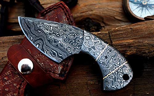 """DKC-948 Guppy Skinner Damascus Steel Knife 5.25"""" Overall 2.75"""" Blade 7 oz"""