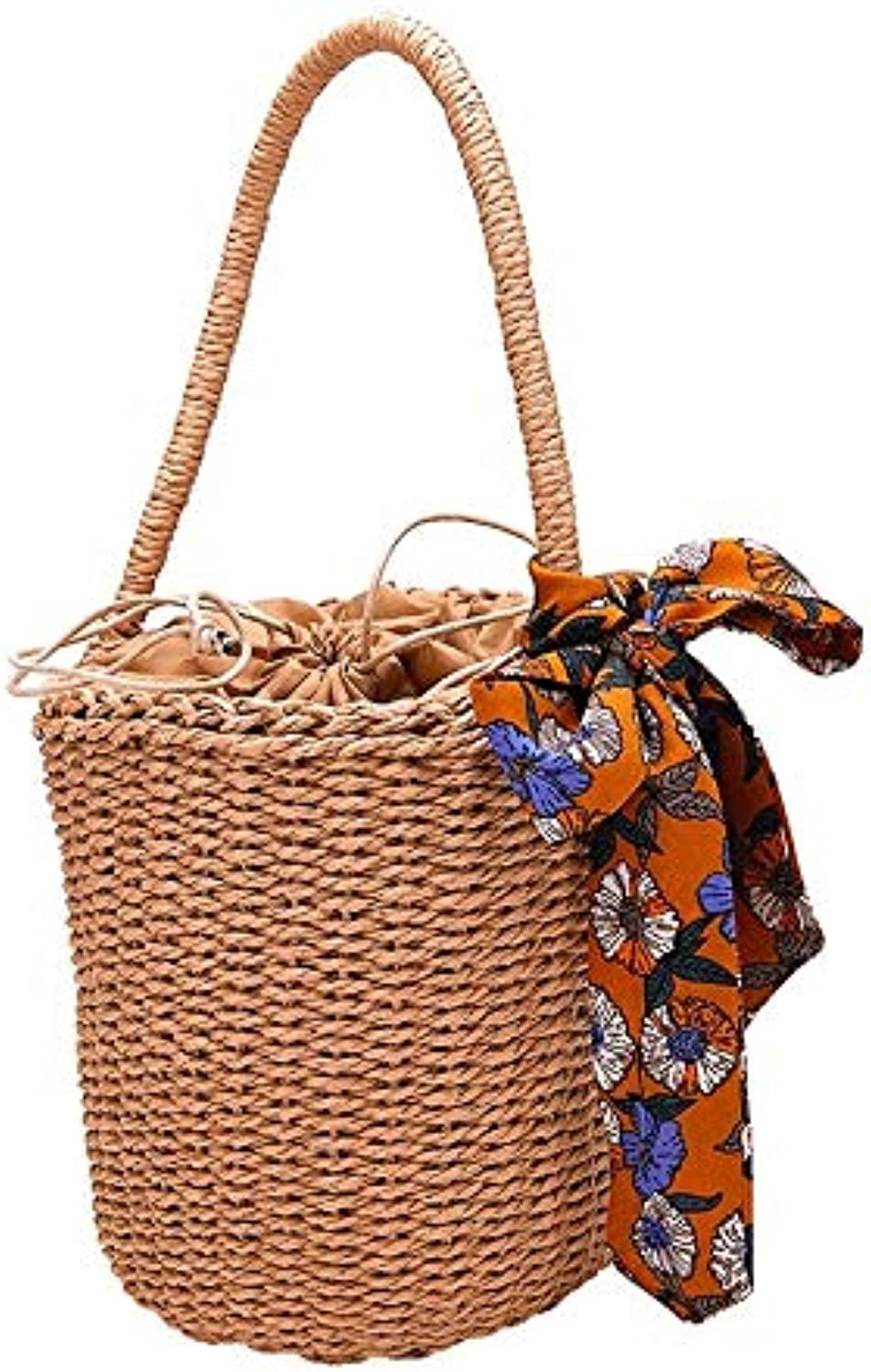 ESTHER Straw Handbags 2019 Women Handbags Handmade Round Handle Bag Drawstring Ladies