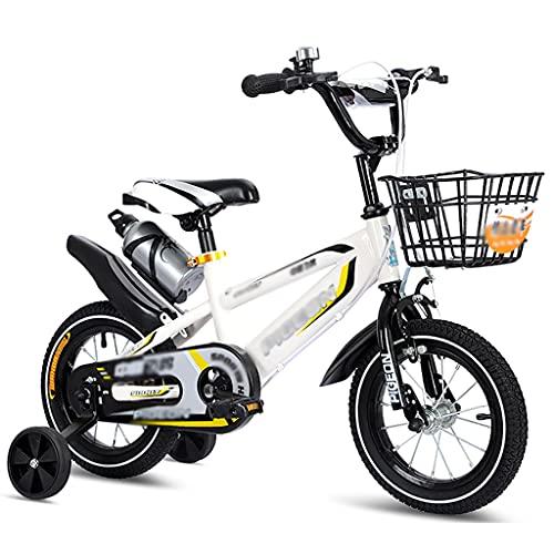 GAIQIN Durable 12'14' Bicicleta para niños para niñas y niños con Ruedas de Canasta y Entrenamiento, 85% ensamblado, múltiples Colores (Color : C, Size : White)