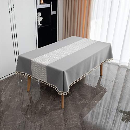 DSman Tischdecke Oxford Stoff Tischtuch Tischwäsche Pflegeleicht Tischdekoration Wellenquaste aus Polyester-Jacquard
