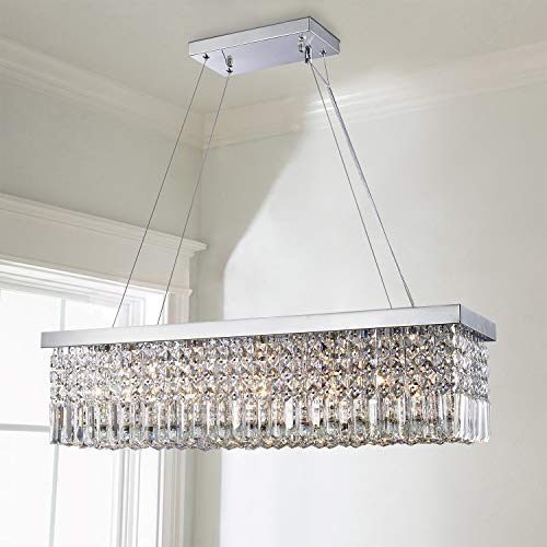 Saint Mossi 5-Lights K9 Crystal Chandelier Modern Chandelier in Raindrop Chandelier Design,Modern Flush Mount Ceiling Light Fixture,Crystal Pendant Light Fixture,H9' x W10' x L31',Chain Adjustable