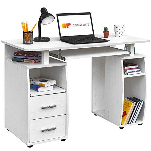 COMIFORT Mesa de Ordenador, Escritorio, Mesa de Oficina, 115x55x76 cm (Nordic)