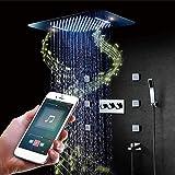 YASE-king Música inteligente de control remoto Dentro de la pared del LED oculto cabezal de ducha caliente y frío Embedded Interruptor cuerpo de la válvula de color ajustable LED pulverización superio