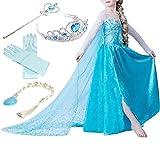 Timesun® Mädchen Prinzessin Schneeflocke Süßer Ausschnitt Kleid Kostüme mit Diadem, Handschuhen, Zauberstab und Zopf, Gr. 98/140 (100 ( Körpergröße 100cm ), #01 kleid mit 4 Zubehör)