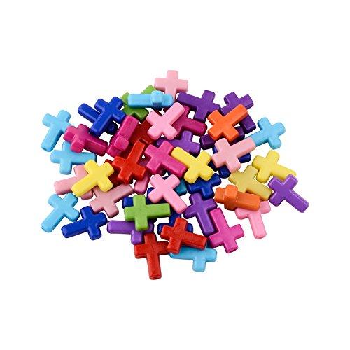 PandaHall Aproximadamente 100 Piezas Cuentas Cruzadas de acrílico Gruesas Cuentas de Colores Mezclados Encantos opacos para Pulseras Collar Fabricación de Joyas